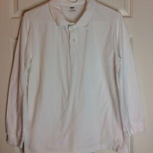 Old Navy White Pique Collard Shirt Sz Husky 10-12